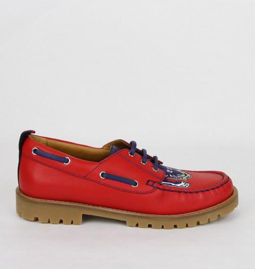 Gucci Red W Leather Loafer W/Blue Animal Print 32/Us .5 455436 6573 Shoes Image 5