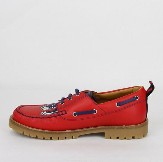 Gucci Red W Leather Loafer W/Blue Animal Print 32/Us .5 455436 6573 Shoes Image 6