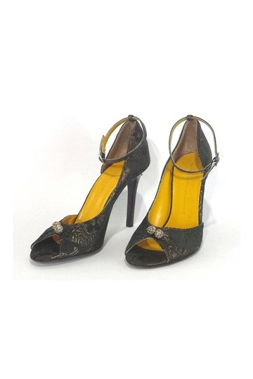 Twelfth St. by Cynthia Vincent Green Metallic Peep gold Pumps Image 2