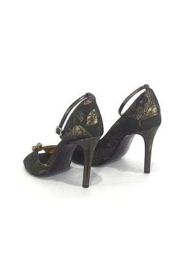 Twelfth St. by Cynthia Vincent Green Metallic Peep gold Pumps Image 3