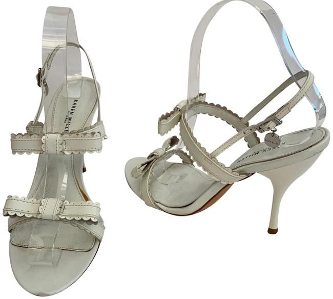 Item - White Leather Strappy Bows Patent Leather Sandals Size EU 37 (Approx. US 7) Regular (M, B)