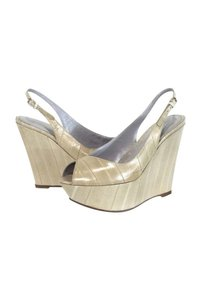 Sergio Rossi Cream Leather Peep Wedges