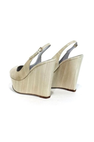 Sergio Rossi Cream Leather Peep Wedges Image 1