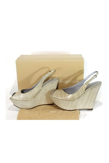 Sergio Rossi Cream Leather Peep Wedges Image 2