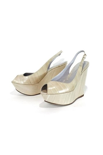 Sergio Rossi Cream Leather Peep Wedges Image 3