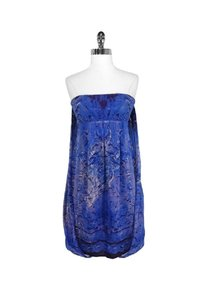 Nicole Miller short dress blue Collection Draped Back Strapless on Tradesy