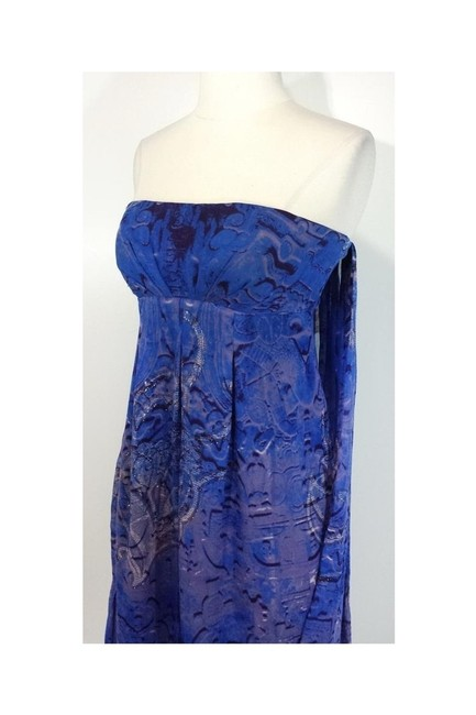 Nicole Miller short dress blue Collection Draped Back Strapless on Tradesy Image 2