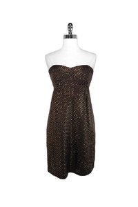 Shoshanna short dress brown Gold Dotted Silk Strapless on Tradesy