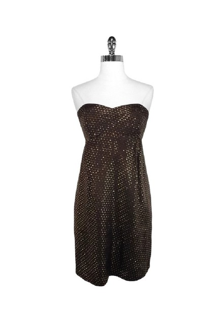 Shoshanna short dress brown Gold Dotted Silk Strapless on Tradesy Image 0