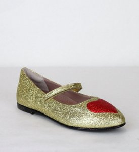 Gucci Gold Children's Shimmer Fabric Ballet Flat 32/Us .5 457017 8055 Shoes