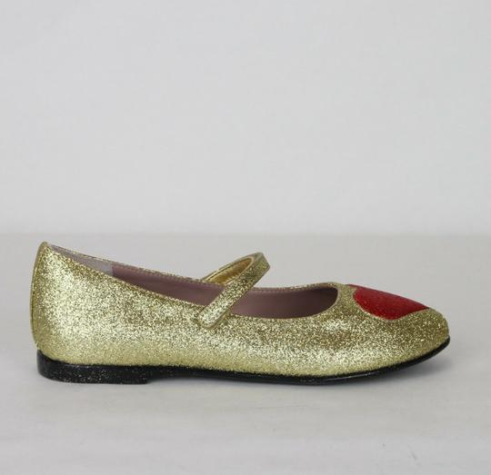 Gucci Gold Children's Shimmer Fabric Ballet Flat 32/Us .5 457017 8055 Shoes Image 5