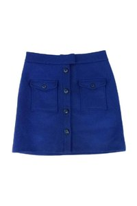Thakoon Navy Double Pocket Front Wool Skirt blue