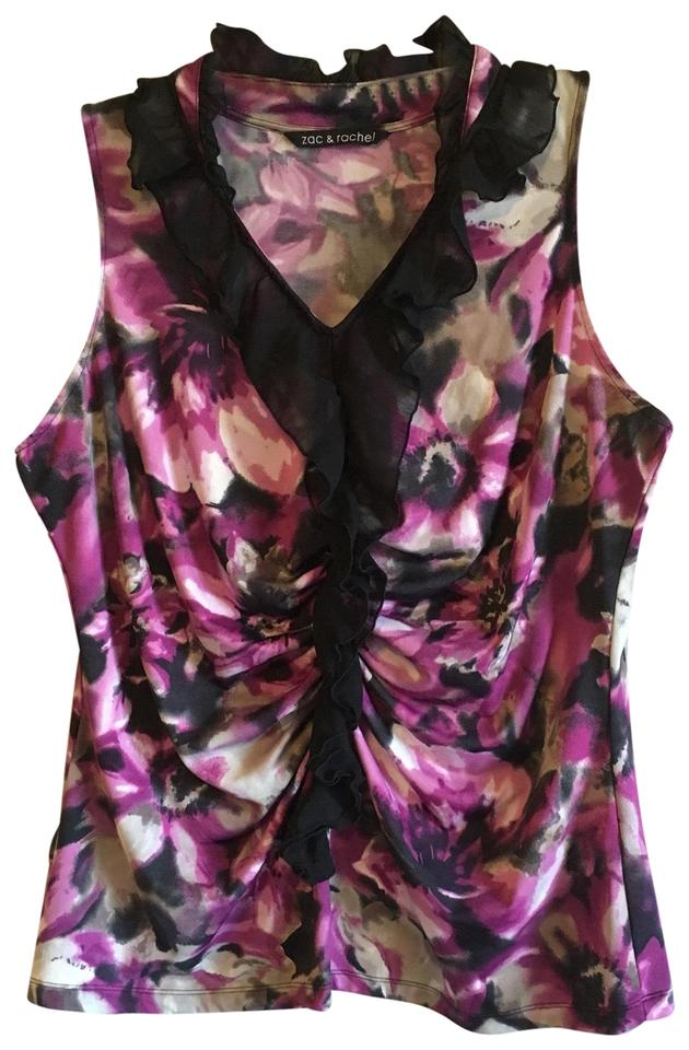 47a3645e6f929e Zac   Rachel Purple Black Sleeveless Cinched Stretch Floral Ruffle  Watercolor Blouse