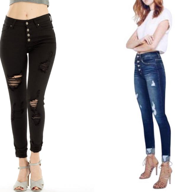 Kancan Cuffed High Rise Button Fly Skinny Jeans Image 4