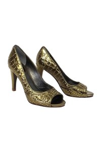 Cole Haan Woven Leather Open gold Pumps