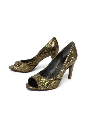 Cole Haan Woven Leather Open gold Pumps Image 1