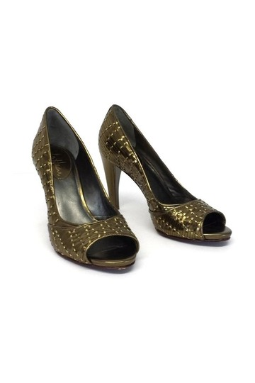 Cole Haan Woven Leather Open gold Pumps Image 2