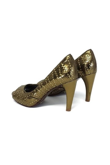 Cole Haan Woven Leather Open gold Pumps Image 3