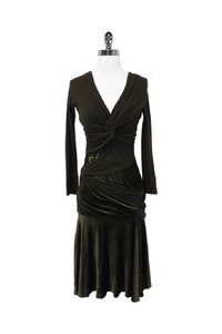 Donna Karan short dress green Olive Velvet Blend Draped on Tradesy