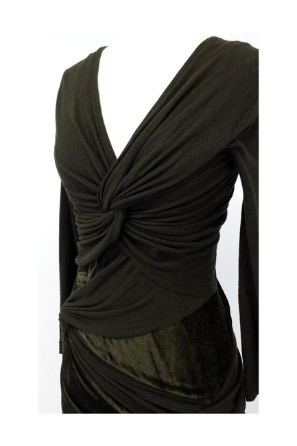 Donna Karan short dress green Olive Velvet Blend Draped on Tradesy Image 2