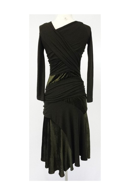 Donna Karan short dress green Olive Velvet Blend Draped on Tradesy Image 3