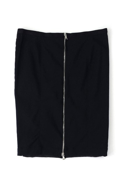 Dolce&Gabbana Gray Black Ruched Pencil Skirt Image 1
