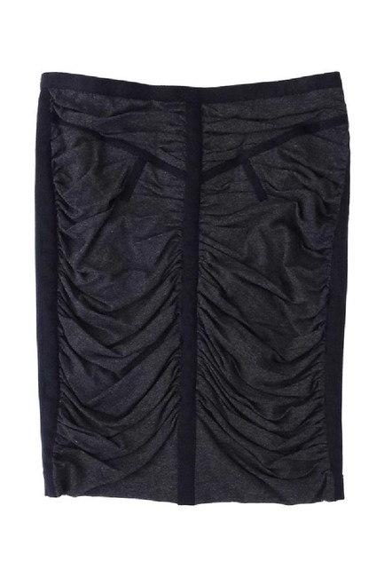Dolce&Gabbana Gray Black Ruched Pencil Skirt Image 2