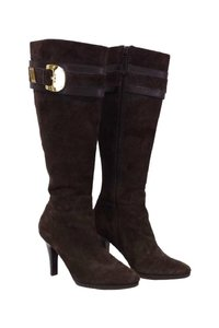 Cole Haan Nicole Suede Knee High W/ Gold Buckles brown Boots
