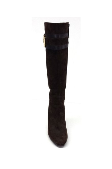 Cole Haan Nicole Suede Knee High W/ Gold Buckles brown Boots Image 1