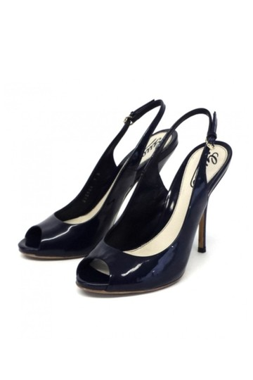 Gucci Navy Patent Leather Peep Toe Slingbacks Pumps Image 0
