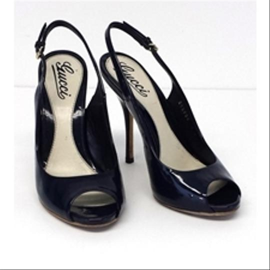 Gucci Navy Patent Leather Peep Toe Slingbacks Pumps Image 1