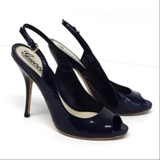 Gucci Navy Patent Leather Peep Toe Slingbacks Pumps Image 2