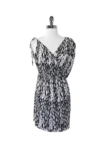 T-Bags short dress black White Print Asymmetrical Sleeve on Tradesy Image 0