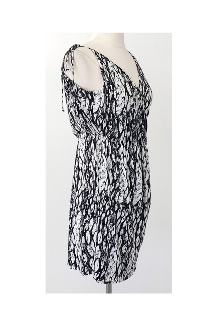 T-Bags short dress black White Print Asymmetrical Sleeve on Tradesy Image 1