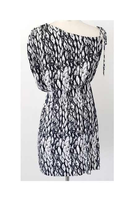 T-Bags short dress black White Print Asymmetrical Sleeve on Tradesy Image 2