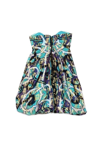 Nicole Miller short dress Purple Collection Teal Gold Strapless on Tradesy Image 1