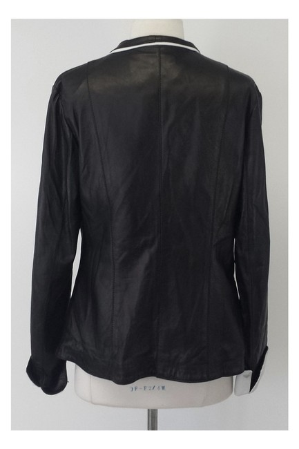 Johnny Florence Leather W/ White Trim black Jacket Image 2