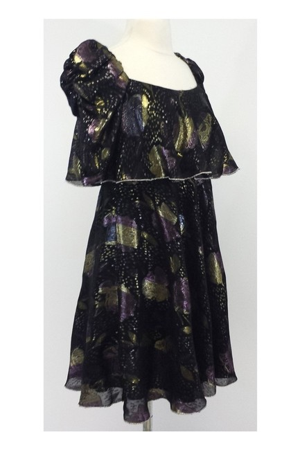 Jill Stuart short dress black Metallic Floral Print Peasant Style on Tradesy Image 1