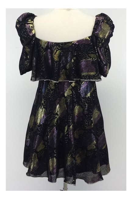 Jill Stuart short dress black Metallic Floral Print Peasant Style on Tradesy Image 2