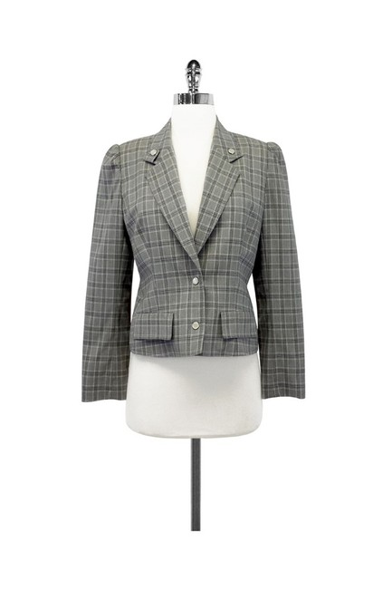 Dior Gray Plaid Wool Cropped Jacket Image 0
