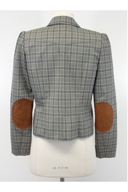 Dior Gray Plaid Wool Cropped Jacket Image 2