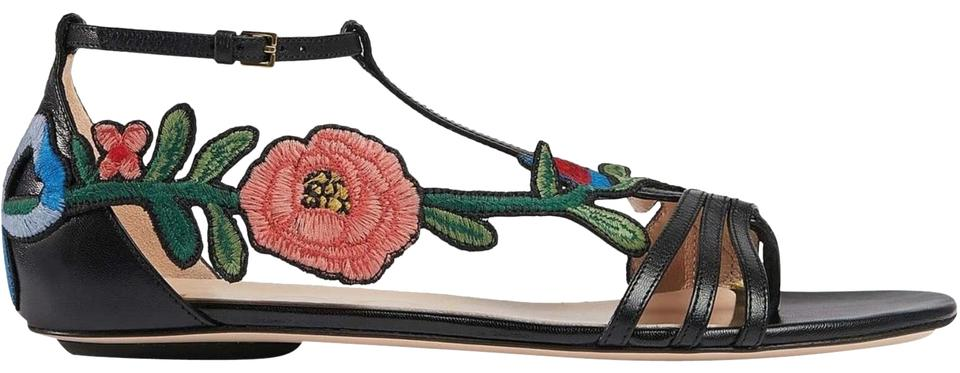 252ae888e22a Gucci Ophelia Flower Embroidered Leather Sandals Size EU 40 (Approx ...