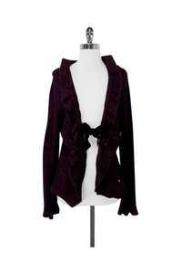 Escada Black Knit Wool Blend W/ Velvet Tie Cardigan