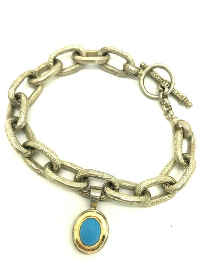 Konstantino Konstantino Sterling Silver & 18k Yellow Gold With Turquoise Bracelet Image 3