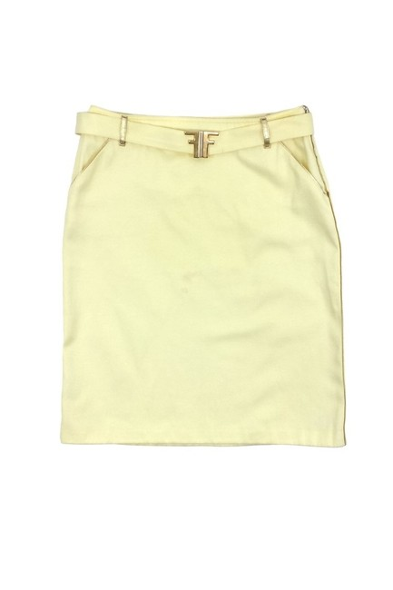 Fendi Cotton Blend W/ Gold Buckle And Trim Skirt yellow Image 2