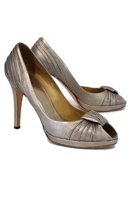 Valentino Pewter Metallic Peep W/ Knot Detail Pumps