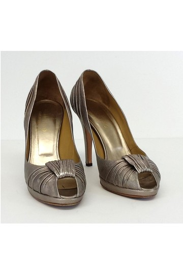 Valentino Pewter Metallic Peep W/ Knot Detail Pumps Image 1