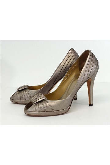 Valentino Pewter Metallic Peep W/ Knot Detail Pumps Image 2
