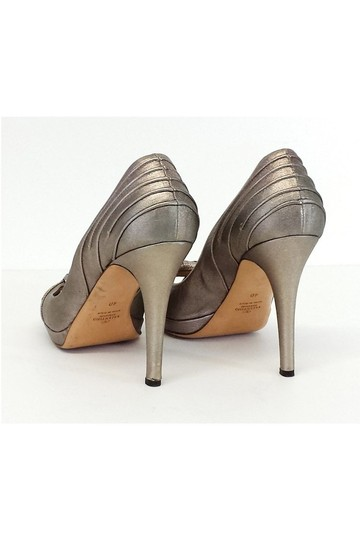 Valentino Pewter Metallic Peep W/ Knot Detail Pumps Image 3