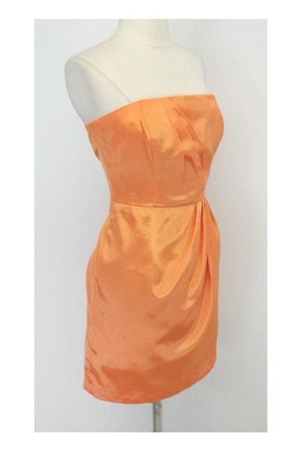 Shoshanna short dress orange Strapless Pleat In Sherbert on Tradesy Image 1